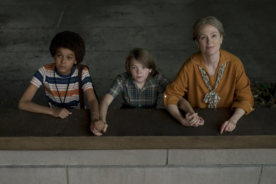 "Jaden Michael, Oakes Fegley, and Julianne Moore in ""Wonderstruck."""