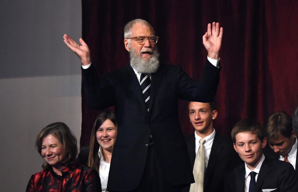 David Letterman acknowledged the audience during Sunday's event.