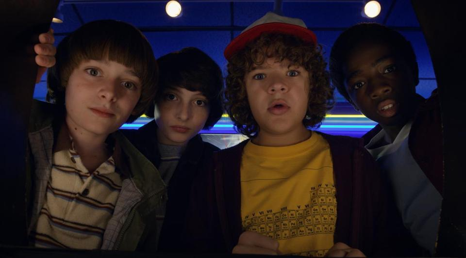 "Noah Schnapp, Finn Wolfhard, Gaten Matarazzo, and Caleb McLaughlin in ""Stranger Things."""