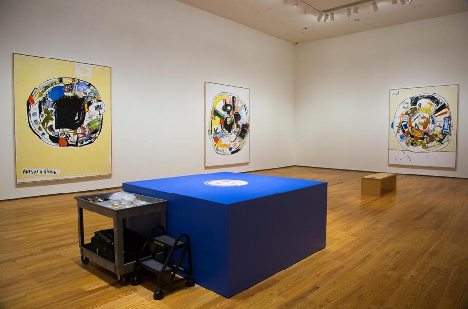 "A view of the installation ""Eddie Martinez: Ants at a Picknic"" at the Davis Museum at Wellesley College."