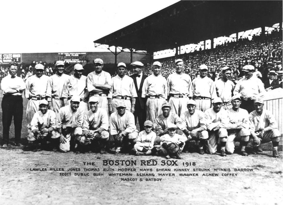 This is the 1918 team photo of the Boston Red Sox.