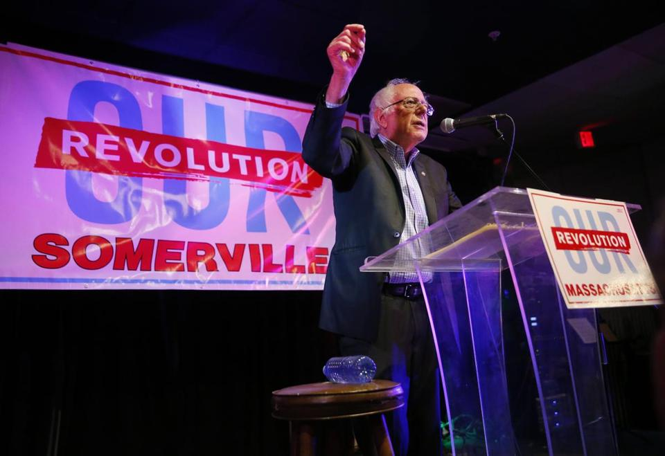 US Senator Bernie Sanders spoke Monday at a rally in Someville in support of progressive candidates.