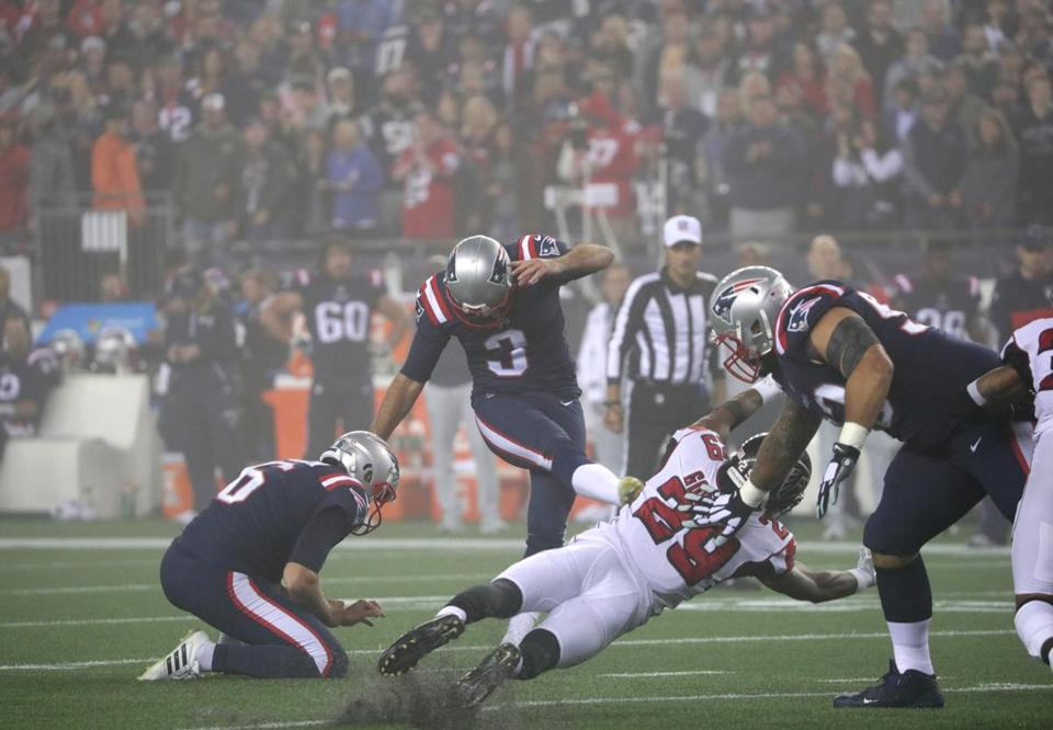 Stephen Gostkowski made a 29-yard field goal late in the first half as fog settled over Gillette Stadium.