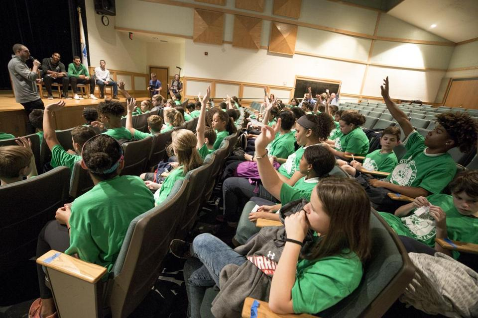 "Content Folder: Regional Assignment Info: In response to the ""take a knee"" controversy, the Boston Celtics have devised a community program that involves two middle schools, one from Lawrence, one from North Andover. players held a workshop around violence prevention, diversity, bullying, and bystander responses. They'll formulate a ""playbook,"" like the Celts have, to deal with various scenarios. classmates. Rose Lincoln for the Boston Globe"