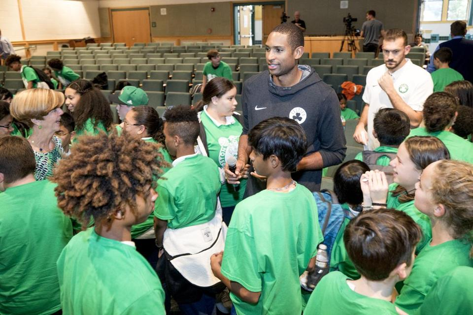 "Content Folder: Regional Assignment Info: Celtics player, Al Horford,(center) participated in a community program that involves two middle schools, one from Lawrence, one from North Andover. players held a workshop around violence prevention, diversity, bullying, and bystander responses. They'll formulate a ""playbook,"" like the Celts have, to deal with various scenarios. classmates. Rose Lincoln for the Boston Globe"