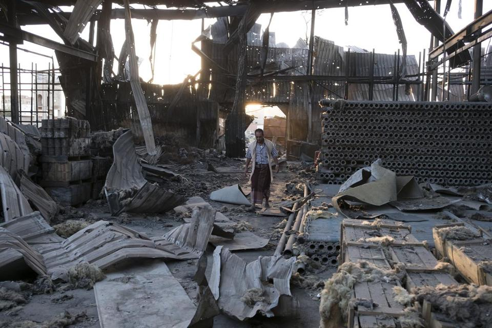 FILE — The aftermath of a bombing that destroyed three factories in Sanaa, Yemen, Oct. 29, 2016. The Saudi-led coalition of Arab countries has bombed Yemen for more than two years in a war to rout Yemen's Houthi rebels, and now the United Nations has placed Saudi Arabia on a draft blacklist of countries that kill and maim children in war. (Tyler Hicks/The New York Times)