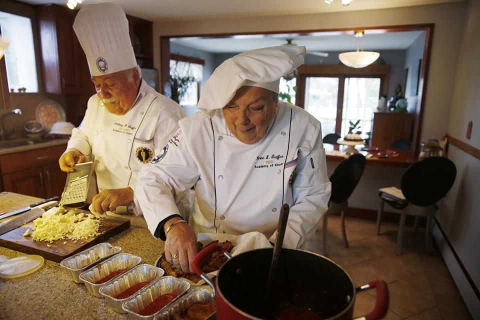 Denise Graffeo, making eggplant Parmesan with her husband, Tony, at their Saugus home, earned Hall of Fame honors.