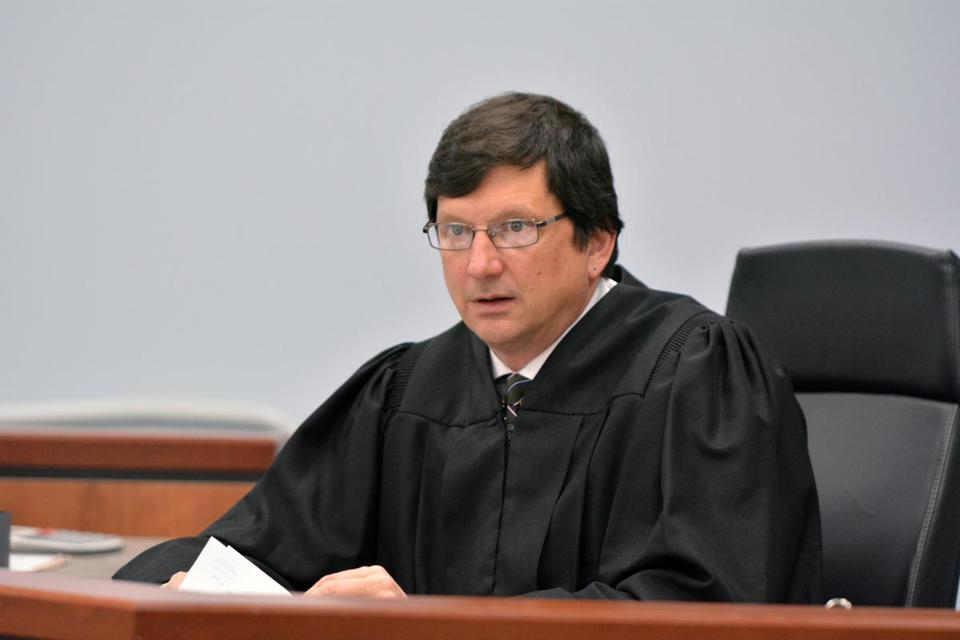Judge Thomas Estes in Eastern Hampshire District Court in Belchertown in May.