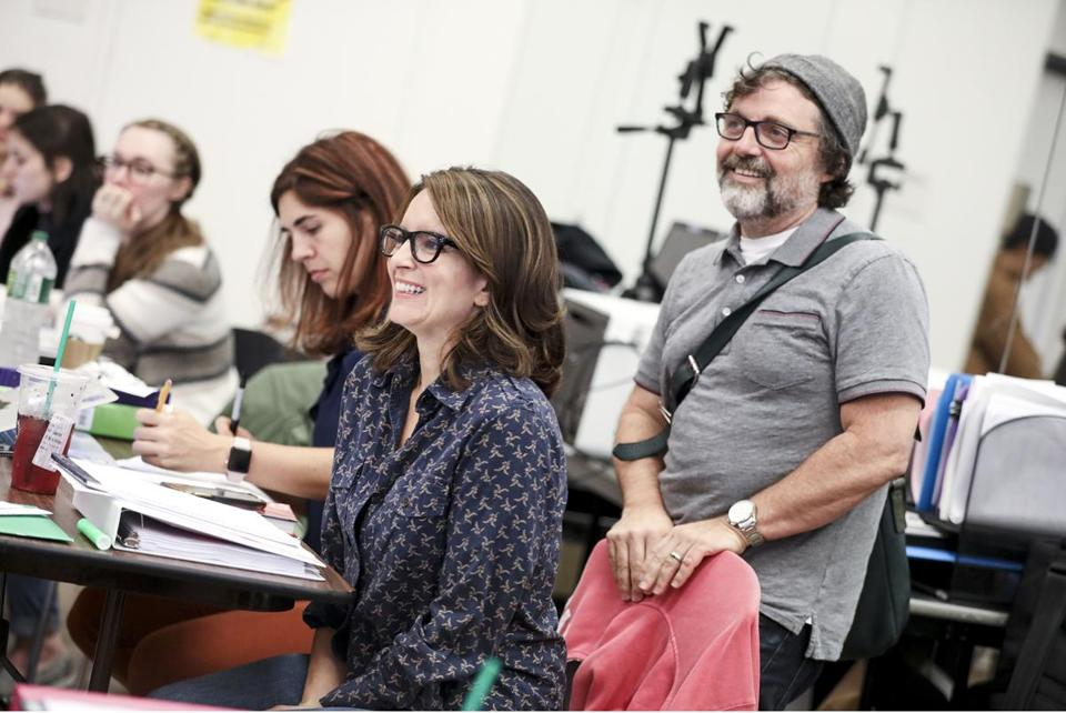 "Tina Fey and Jeff Richmond at a ""Mean Girls"" rehearsal."