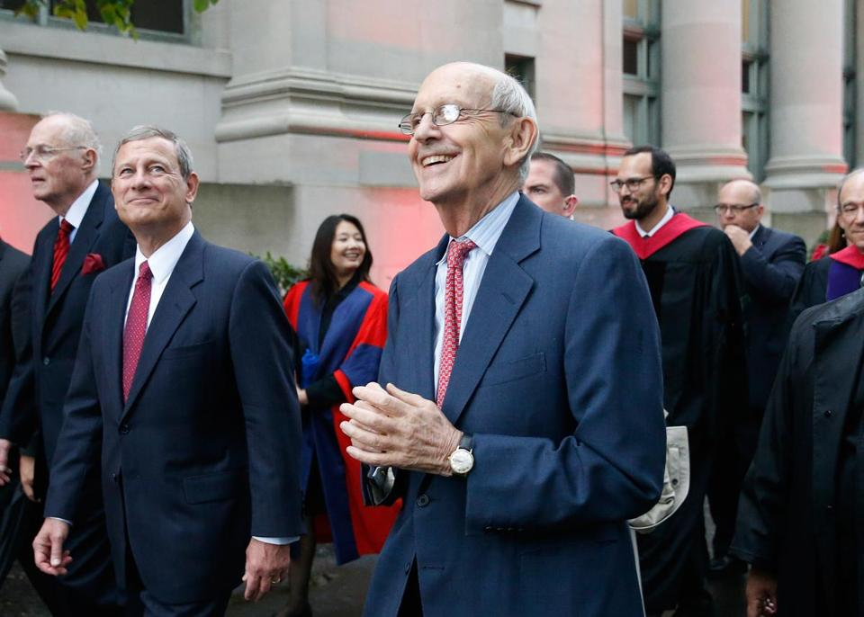 Cambridge, MA -- 10/26/2017 - (L-R) Supreme Court Justices Anthony Kennedy, John Roberts and Stephen Breyer take part in a procession to mark Harvard Law School's bicentennial. (Jessica Rinaldi/Globe Staff) Topic: 27justices Reporter: