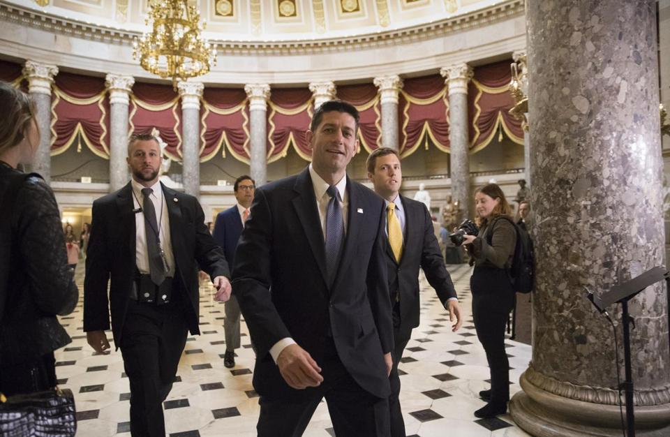 Speaker of the House Paul Ryan walked to the House chamber today for the budget vote.