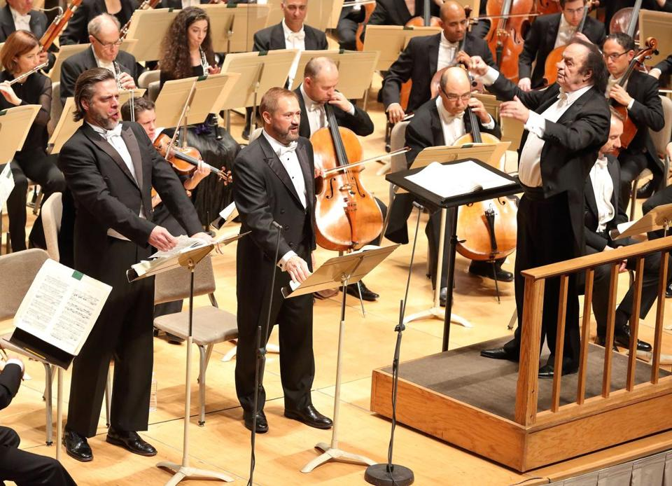 John Relyea (left) and Paul Groves perform with the BSO under the direction of Charles Dutoit at Symphony Hall Thursday night.