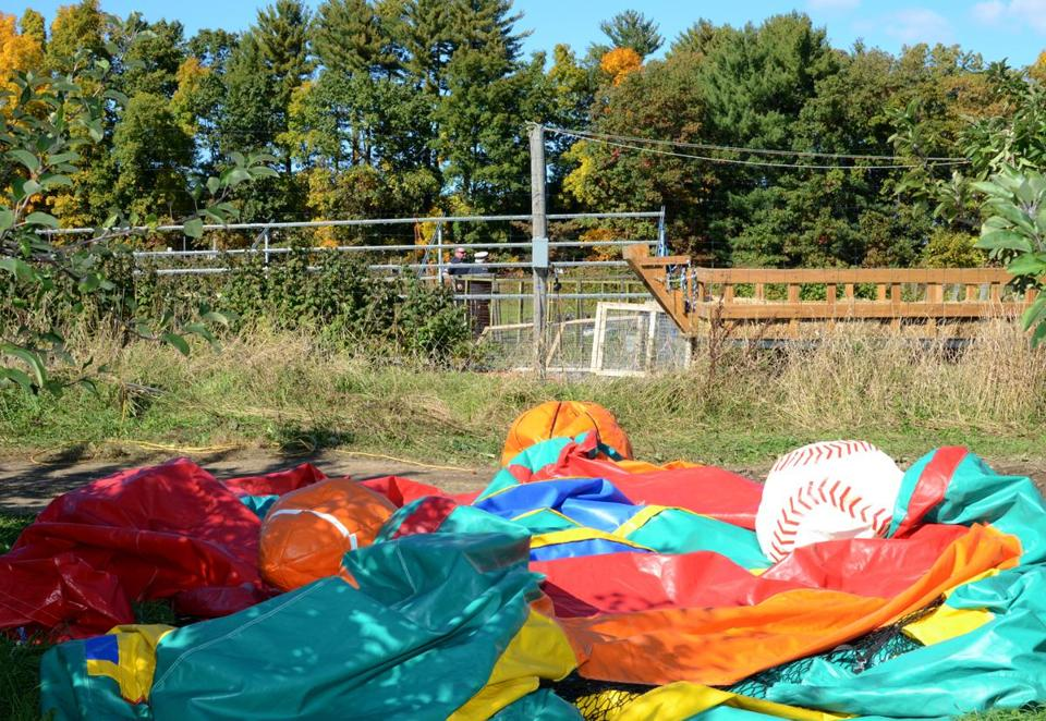 A police photo of the area where the bounce house landed at Sullivan Farm. Two children were injured in the accident.