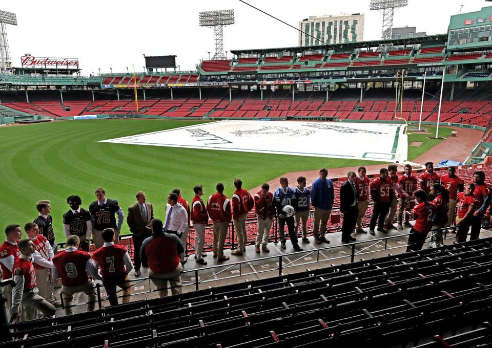 The captains and coaches from the six high school football teams playing at Fenway Park got a look at the field last month.