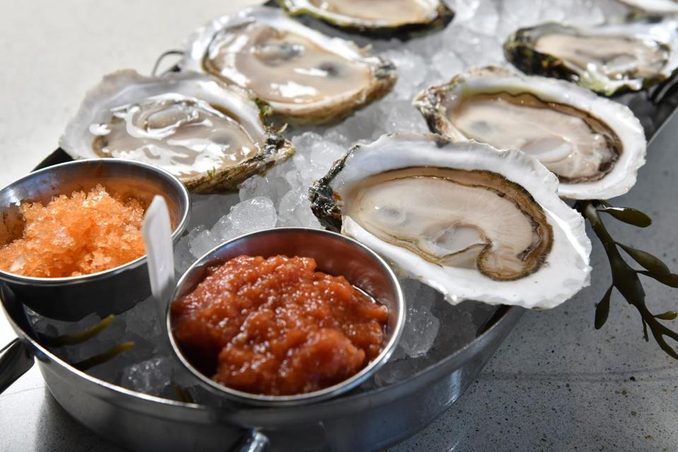 A dozen oysters at Eventide, a new Fenway seafood restaurant. Josh Reynolds for The Boston Globe (Lifestyle, first)