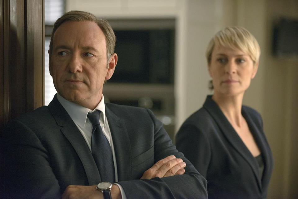 "Kevin Spacey (left) as Francis Underwood and Robin Wright as Clair Underwood in a scene from ""House of Cards."""