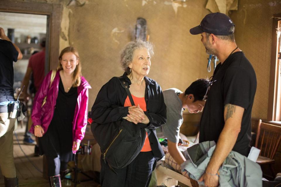 "Screenwriter Sarah Polley (left) and author Margaret Atwood on the set of ""Alias Grace."""