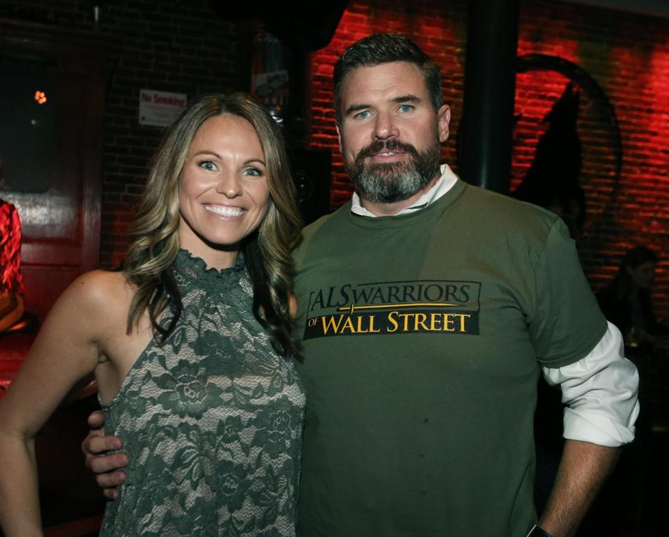 10-25-2017 Boston, Mass. Over 300 guests attended ALS Worriors of Wall Street Bartender Challenge held at Howl at the Moon Bar in Boston. L. to R. are Rachel and Eric Engdahl of Reading. Globe photo by Bill Brett