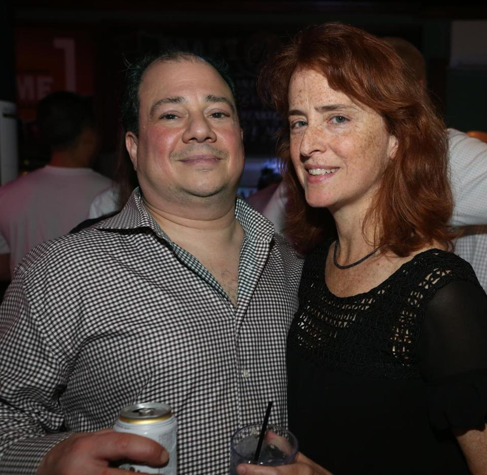 10-25-2017 Boston, Mass. Over 300 guests attended ALS Worriors of Wall Street Bartender Challenge held at Howl at the Moon Bar in Boston. L. to R. are Narc Orfaly of Daorchester and Sandy Tarrant of Dorchester. Globe photo by Bill Brett