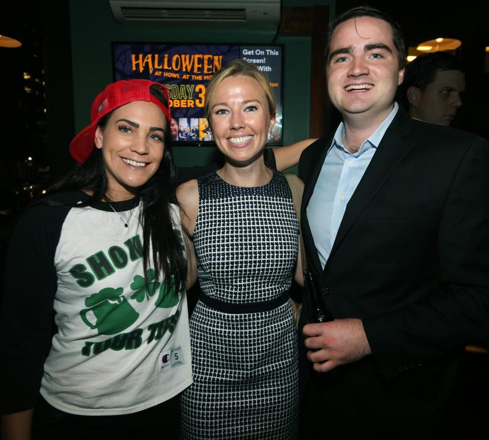10-25-2017 Boston, Mass. Over 300 guests attended ALS Worriors of Wall Street Bartender Challenge held at Howl at the Moon Bar in Boston. L. to R. are Patty Santorella of Charlestown, Bridget Cuff of Boston and Connor O'Brien of Boston. Globe photo by Bill Brett