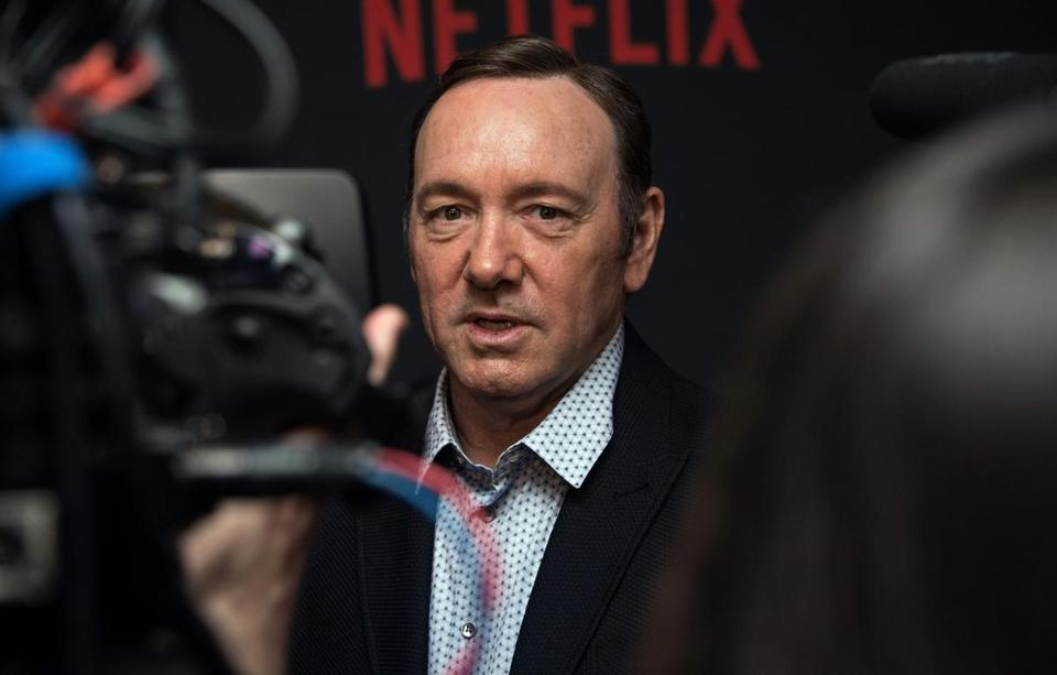 "(FILES): This file photo taken on February 23, 2016 shows actor Kevin Spacey arriving for the season 4 premiere screening of the Netflix show ""House of Cards"" in Washington, DC. Production of next season's award-winning ""House of Cards"" season six has been suspended indefinitely in the wake of sexual misconduct allegations against its star Kevin Spacey, Netflix announced on October 31, 2017. Media Rights Capital and Netflix said the suspension was ""until further notice, to give us time to review the current situation and to address any concerns of our cast and crew."" / AFP PHOTO / Nicholas KammNICHOLAS KAMM/AFP/Getty Images"