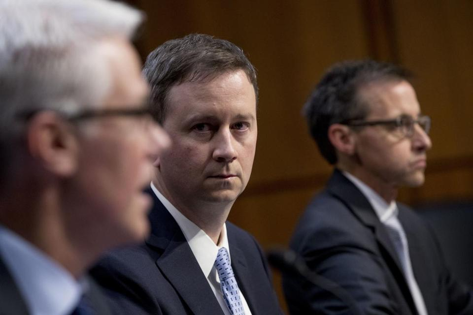 From left, Facebook's general counsel Colin Stretch, Twitter's acting general counsel Sean Edgett, and Google's law enforcement and information security director Richard Salgado addressed a Senate Committee on the Judiciary, Subcommittee on Crime and Terrorism hearing on Capitol Hill in Washington on Tuesday.