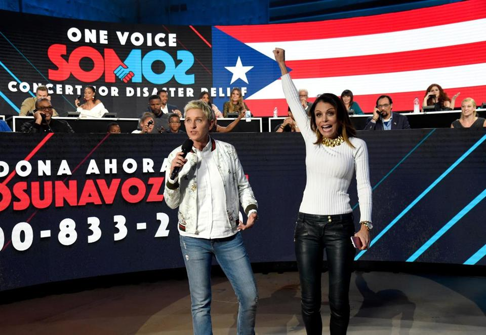 Bethenny Frankel (right) appeared with Ellen DeGeneres Oct. 14 during a concert for disaster relief in LA.