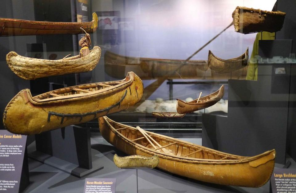 Scale model canoes at Harvard's Peabody Museum.