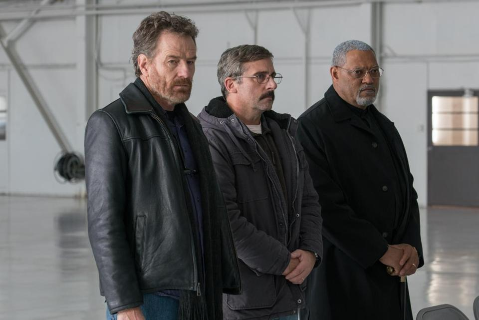"From L to R: Bryan Cranston as ""Sal,"" Steve Carrell as ""Doc,"" and Laurence Fishburne as ""Mueller"" in the 2017 film ""Last Flag Flying,"" directed by Richard Linklater. Photo by Wilson Webb."