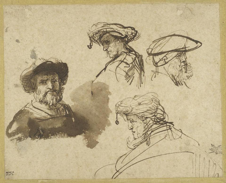 04AbramsArt Rembrandt Harmensz. van Rijn Four Studies of Male Heads Rembrandt Harmensz. van Rijn Dutch, 1606-1669 Four Srudies t{l'viale I leads,. c. 1636 Brown ink and brown wash on antique laid paper 126 x 158 mm Maida and George Abrams Collection, Boston, Massachusetts