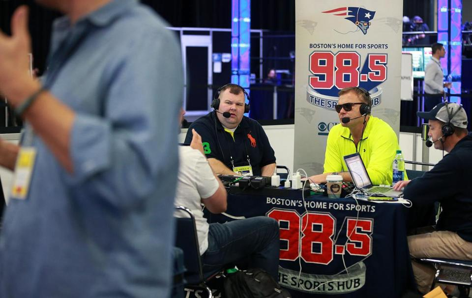 "Houston, TX 2-1-17: Talk was in the air everywhere at ""Radio Row"" in the Media Center in downtown Houston, including Boston based talk show hosts Marc Bertrand (left) and Scott Zolak (right) of the ""Zolak and Bertrand Show"" on 98.5 The Sports Hub. (Globe Staff Photo/Jim Davis) reporter: various topic: Super Bowl"