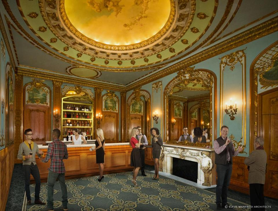 A rendering of what the Orchestra Lounge will look like when the Colonial Theatre reopens.