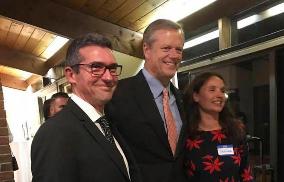Martin Marro (left) and his wife, Mariana Dagatti (right), posed with Governor Charlie Baker at a fund-raiser in Newton.