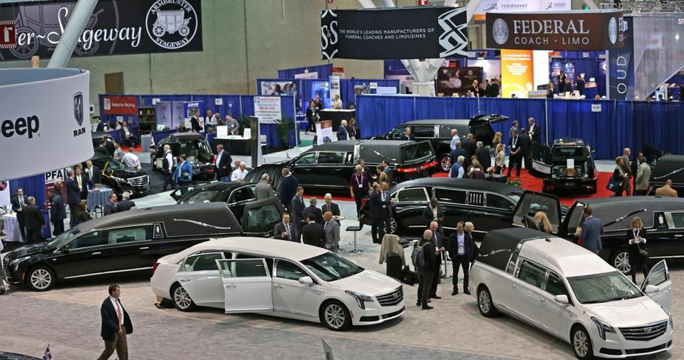 Hearses were on display at the National Funeral Directors Association's annual convention.