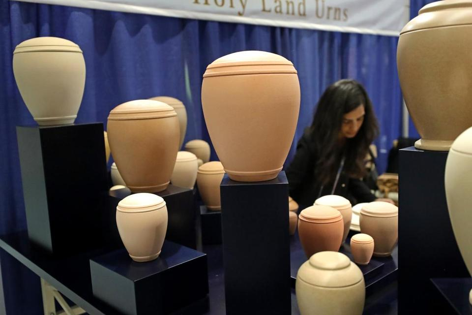 BOSTON, MA - 10/31/2017: Urns on dispaly came in many shapes and materials throughout the convention. National Funeral Directors Association is meeting in Boston at the Boston Convention and Exhibition Center (David L Ryan/Globe Staff ) SECTION: METRO TOPIC 02funeral