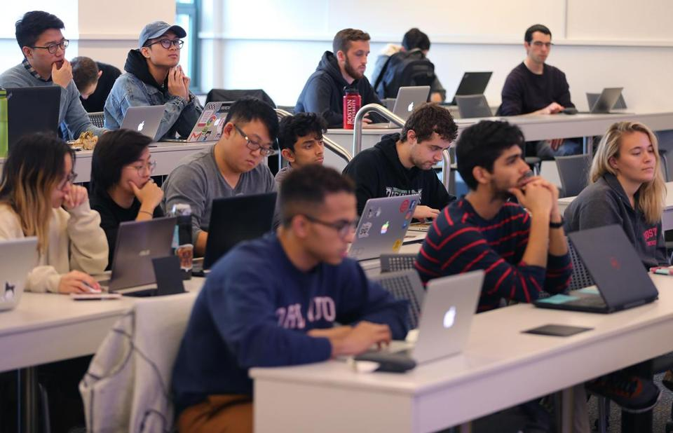 Boston University students listen to engineering professor Roscoe Giles during his class on Nov. 1.