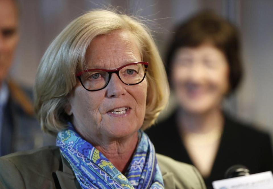 Rep. Chellie Pingree, D-Maine, speaks at a news conference at Bath Iron Works in Bath, Maine, Friday, Sept. 29, 2017. (AP Photo/Robert F. Bukaty)