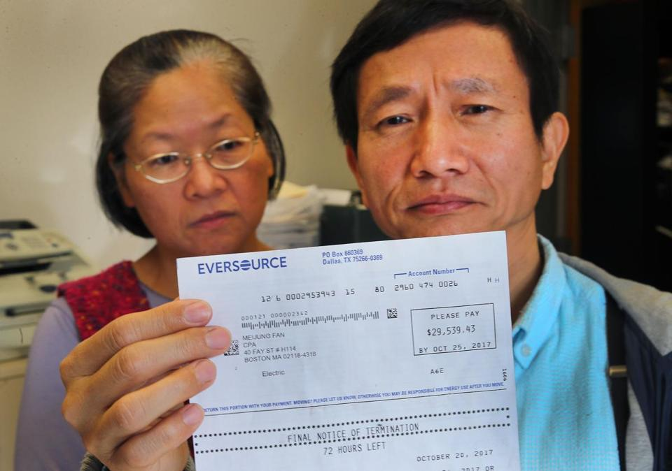 Keh-Jiann Pan and his wife, Mei-jung Fan, were billed nearly $30,000 by Eversource for years worth of electricity at their office.