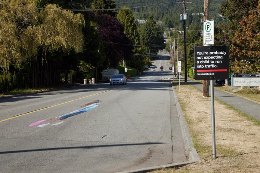 "04illusion - In West Vancouver, Canada, a nonprofit installed a 3-D decal on a road near a school to raise awareness about drivers speeding through school zones. The decal, called ""Pavement Patti,"" looked like a girl was installed temporarily during the 2010 back-to-school season. (The Community Against Preventable Injuries)"