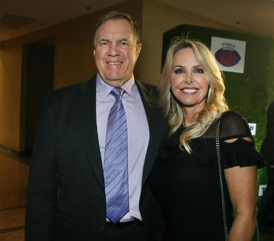 Bill Belichick and Linda Holliday at the Hall of Fame Huddle fund-raiser at the Seaport World Trade Center.