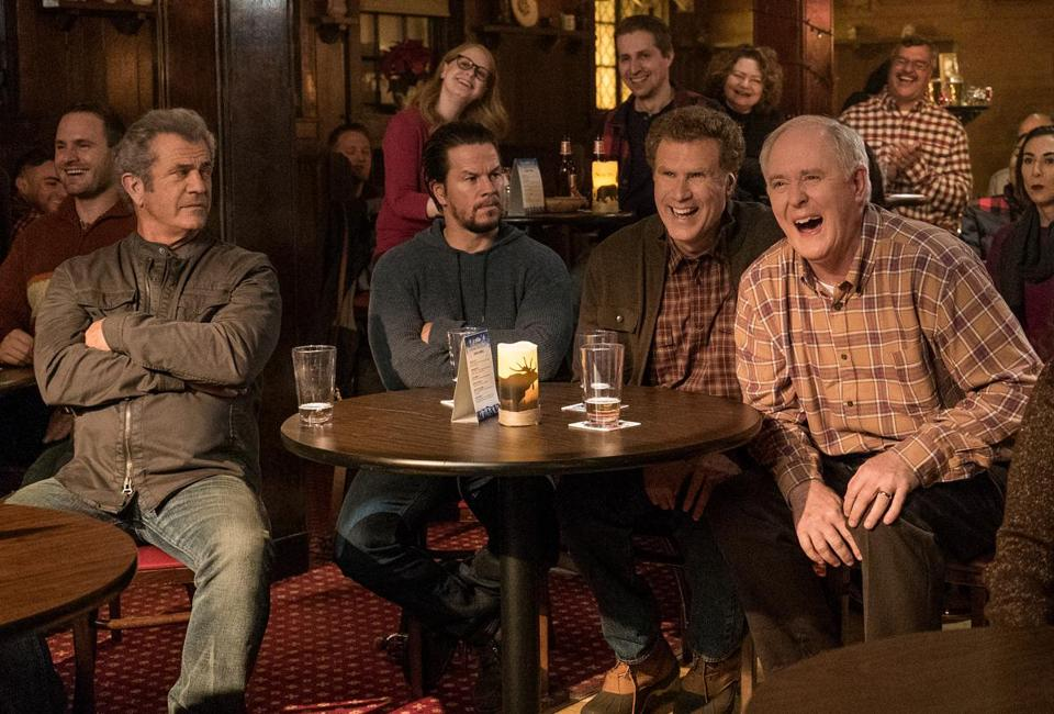 "From left: Mel Gibson, Mark Wahlberg, Will Ferrell, and John Lithgow in ""Daddy's Home 2."""