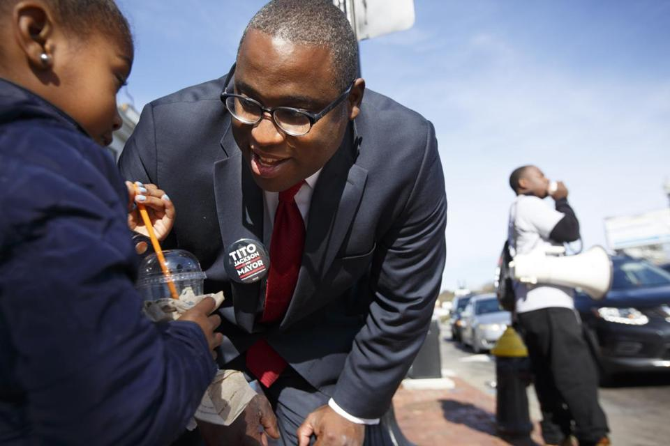 City Councilor Tito Jackson campaigned Saturday in Mattapan Square.