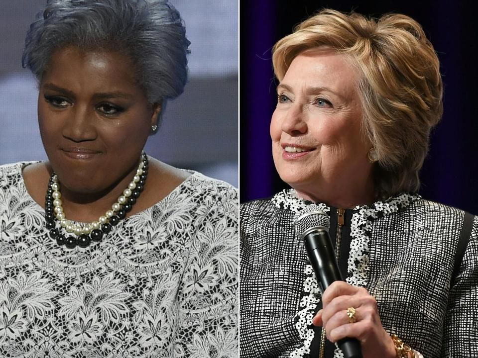 Former Democratic National Committee chairwoman Donna Brazile (left) says she considered selecting Joe Biden to replace Hillary Clinton (right) on the November 2016 ballot.