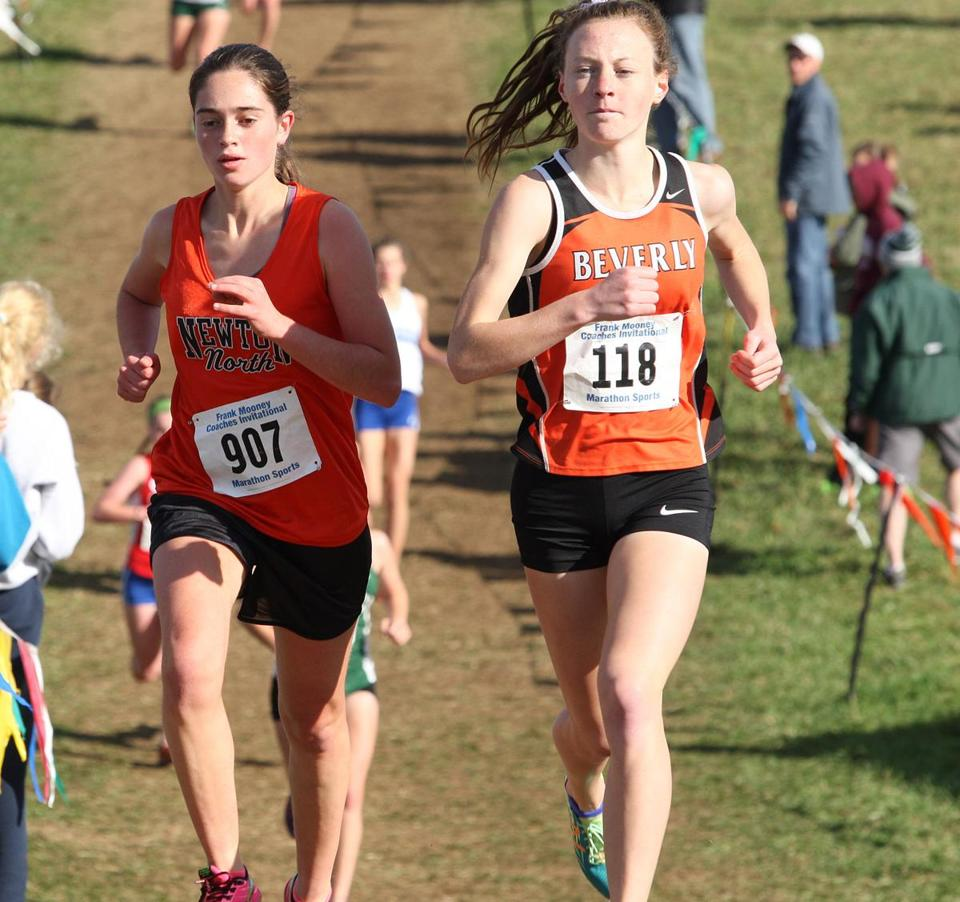 Beverly's Ashley Foley (No, 118) edged Newton North's Einat Gavish in the Division 1 junior and senior race.