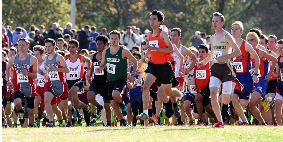 Andrew Mah of Newton North goes out to a quick lead in the Division 1 boys' junior and senior race.