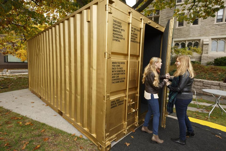 Shannon Boley (left) and Dorie Goehring are curators of the Portal installation at Harvard Divinity School.