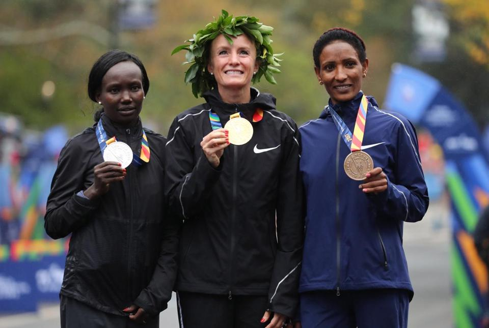 From left, Mary Keitany of Kenya, Shalane Flanagan of the US, and Mamitu Dasku of Ethiopia.