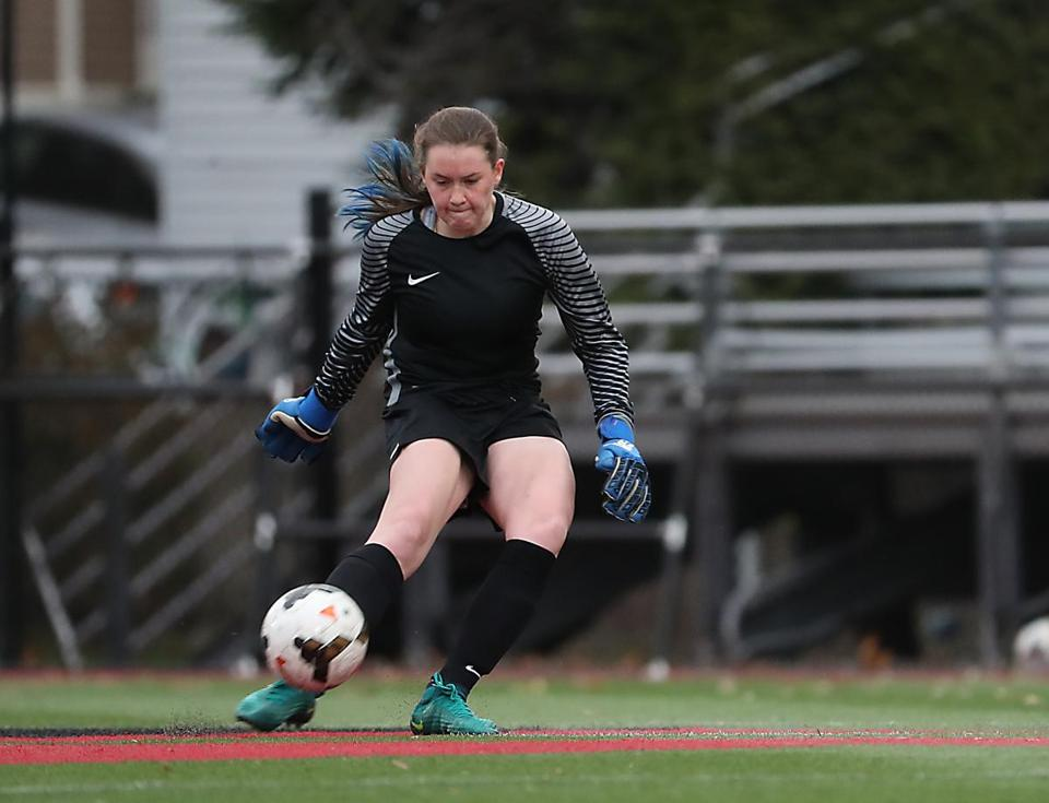 Brookline Ma 11/05/17 Brookline High goalie Katherine McElroy takes a penalty kick from mid field against Peabody High during first half action of the first round of MIAA D1 Girls Soccer Championships at Northeastern University. (Matthew J. Lee/Globe staff) topic reporter: