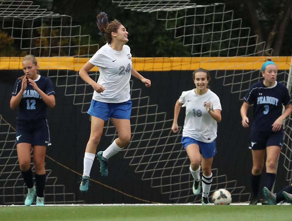 Brookline Ma 11/05/17 Brookline High Thea Feldgoise celebrates her goal against Peabody High during first second half action of the first round of MIAA D1 Girls Soccer Championships at Northeastern University. (Matthew J. Lee/Globe staff) topic reporter: