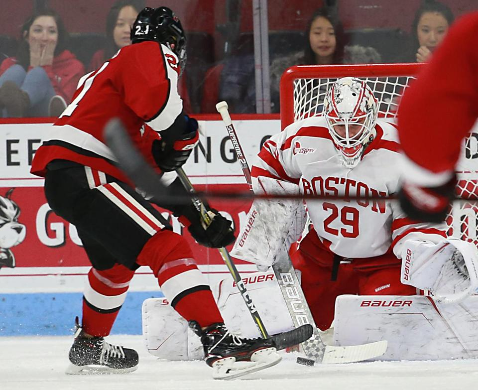 Boston Ma 11/04/17 Boston University goalie Jake Oettinger is beaten for a goal by Northeastern University Nolan Stevens during first period action at Agganis Arena. (Matthew J. Lee/Globe staff) topic reporter: Frank Dell'Apa